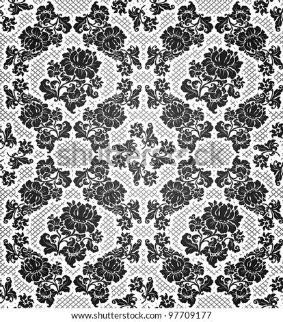 Lace background, ornamental flowers - stock vector