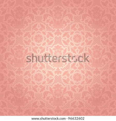 Lace background, ornamental pink flowers template - stock vector