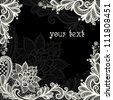 Lace  background with a place for text. Black and white lace vector design. - stock photo