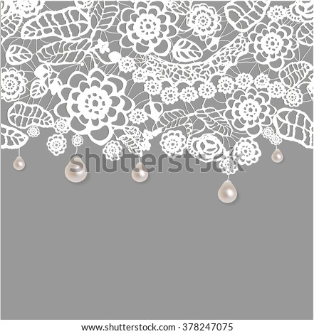 Lace background with pearls. Seamless ornament. Floral design. Vector illustration/Eps 10