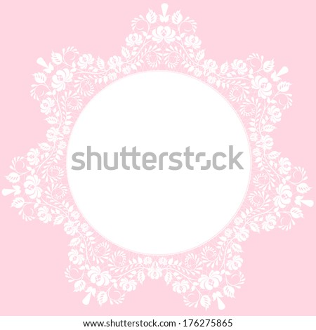 Lace beautiful white frame on pink background - stock vector