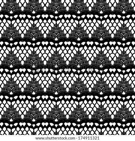 Lace black seamless mesh pattern. Vector illustration. - stock vector