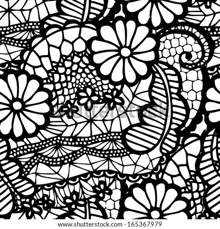 Lace black seamless pattern with flowers on white background - stock vector