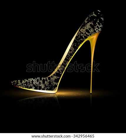lace black shoe - stock vector