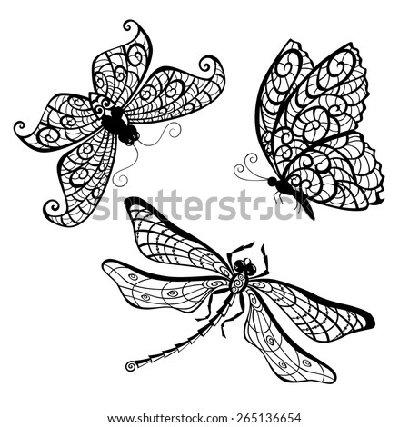lace butterfly dragonfly silhouettes isolated on stock vector 265136654 shutterstock. Black Bedroom Furniture Sets. Home Design Ideas