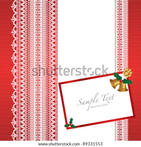 lace card with christmas bell - stock vector