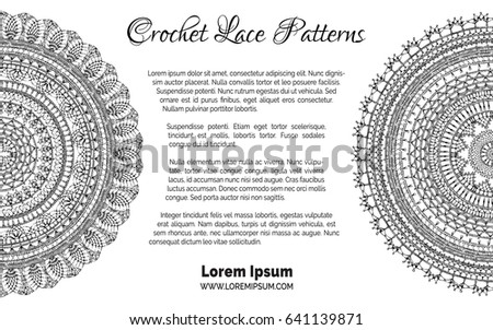 Lace Crochet Patterns Background Round Knitted Stock Vector Royalty
