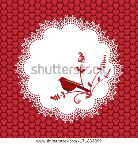 Lace Doilie  with bird and background pattern  - stock vector