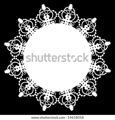 Lace doily circular border pattern with solid center. One continuous path for easy color change. - stock vector