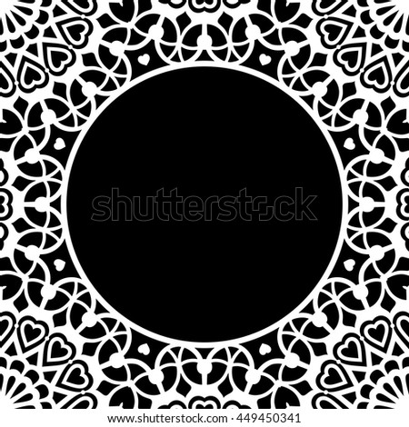 Lace / Doily round frame, hand made cutout, wedding decor, plotter design element, vector illustration - stock vector