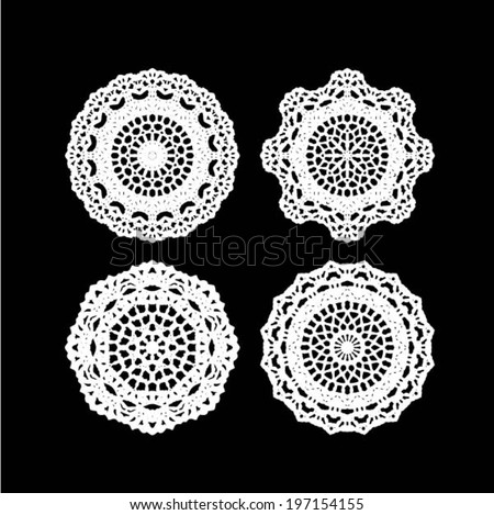 Crochet Patterns Vector : ... pattern, embroidery elements, vector illustration - stock vector