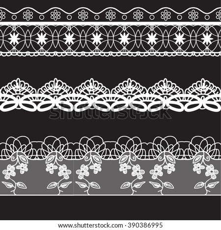 lace edge vector thread knitting illustration white