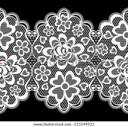 lace embroidery seamless border isolated on black background - stock vector