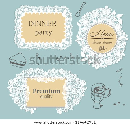 lace frame labels - stock vector