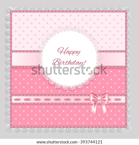 lace napkin with decorative  bows on pink  background,  vector illustration