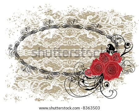 lace oval frame valentine red roses and swirls (vector) - stock vector