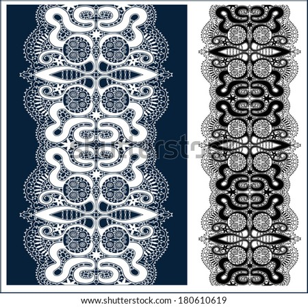 Lace pattern, butterfly abstract decoration, hand drawn sketch, retro floral and geometric ornament, lacy frame border texture, isolated design elements, black and white - stock vector