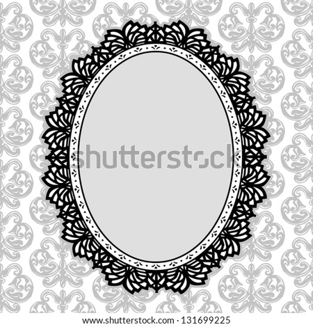 Lace Picture Frame, vintage oval doily with antique damask background pattern design. Copy space for pictures for albums, scrapbooks, holidays. EPS8 compatible. - stock vector