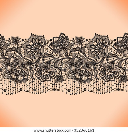 Lace ribbon seamless pattern with elements flowers. Arabic pattern. - stock vector