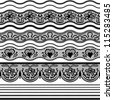 Lace seamless borders. Vector set of elements for design. - stock vector