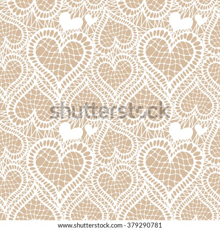 Lace seamless hand drawn vector pattern. Abstract hearts and floral motifs. Art Deco textile collection. White.