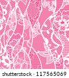 Lace seamless pattern with flowers on pink background - stock vector
