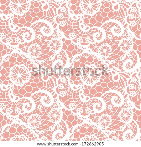Lace seamless pattern with flowers. Vector illustration. - stock vector