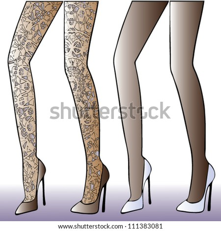 lace stockings - stock vector
