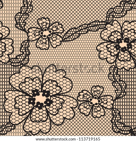 Lace vector fabric seamless  pattern with flowers - stock vector