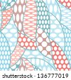 Lace vector fabric seamless pattern with lines and waves and dots - stock vector