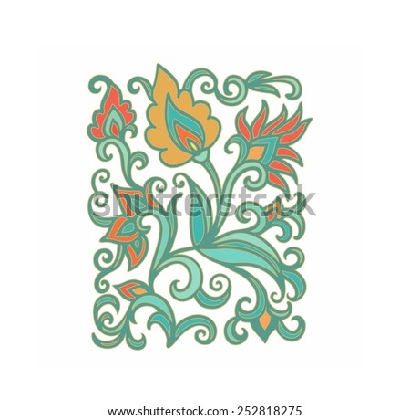 Laced floral composition in turkish style - stock vector