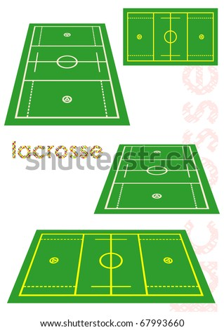 Lacrosse field in various perspective. Vector illustration. - stock vector