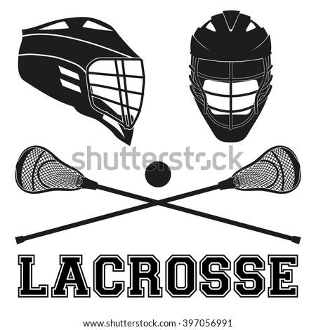 Lacrosse helmets and sticks and ball. Flat and silhouette style. Sport Equipment Front and Side View. Vector illustration isolated on white background. - stock vector