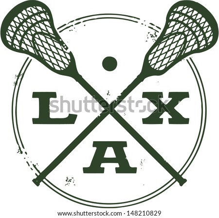 Lacrosse LAX Vintage Style Stamp - stock vector