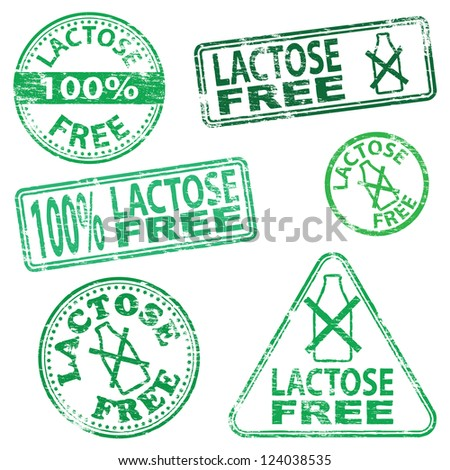 Lactose free food. Rubber stamp vector illustrations - stock vector