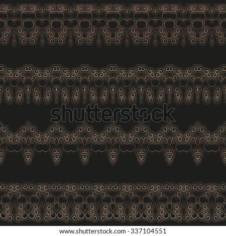Lacy borders, ornamental patterns. Vector texture. An openwork pattern for decoration of your works from a set of small spirals.