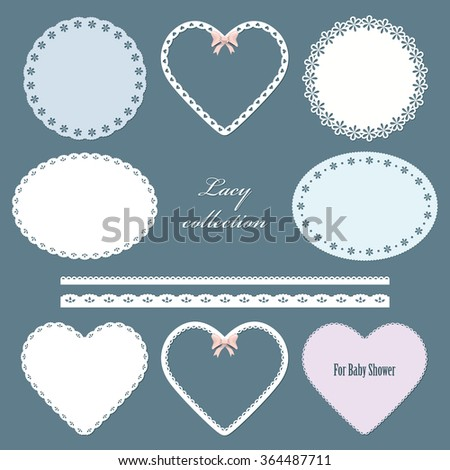 Lacy doilies. Oval, round, in the shape of heart napkins and straight lace set. Pastel colors. For scrapbook, baby shower, valentine's day design. - stock vector