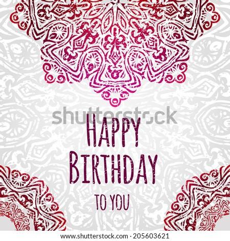 Lacy Ethnic Vector Happy Birthday Card Vector 205603621 – Ethnic Birthday Cards