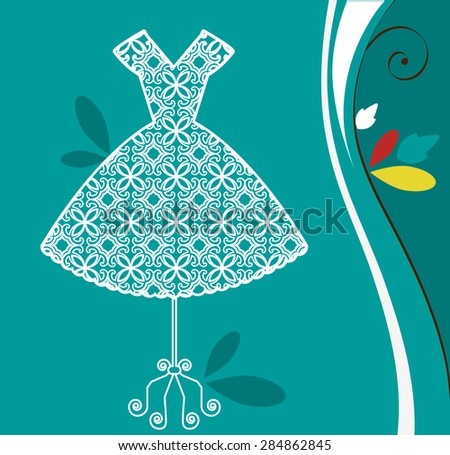 lacy retro summer dress - stock vector