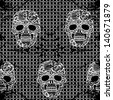 Lacy skull and mesh.Vintage rumpled  vector seamless pattern. - stock vector