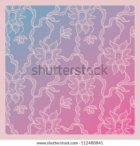 Lacy vintage vector background. Lace on gradient.