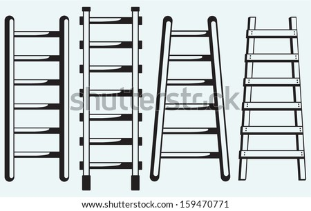 Ladder against the wall isolated on blue background - stock vector