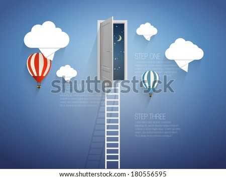 Ladder into the sky-vector illustration - stock vector