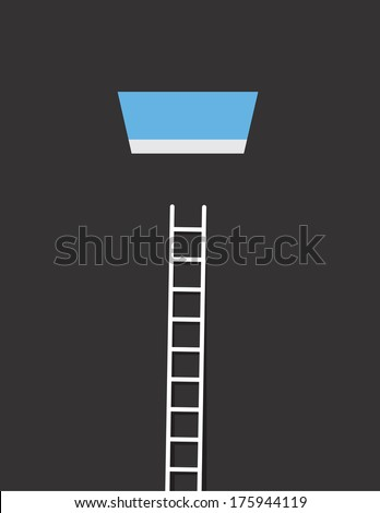 Ladder leading up to an open window to the sky