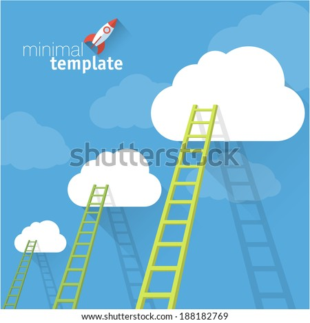Ladder to clouds. Vector minimalistic design competition concept. - stock vector