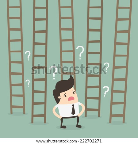 Ladder to success. Business choices concept. - stock vector