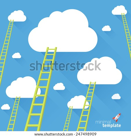 Ladder to the sky. Vector minimalist design competition concept.  - stock vector