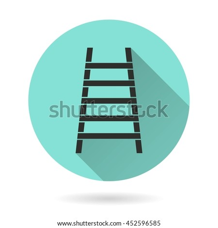 Ladder vector icon. Black Illustration isolated on green background for graphic and web design.
