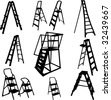 ladders collection - vector - stock vector