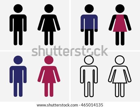 Bathroom Sign Boy Girl ladies gentlemen men women boys girls stock vector 465014135
